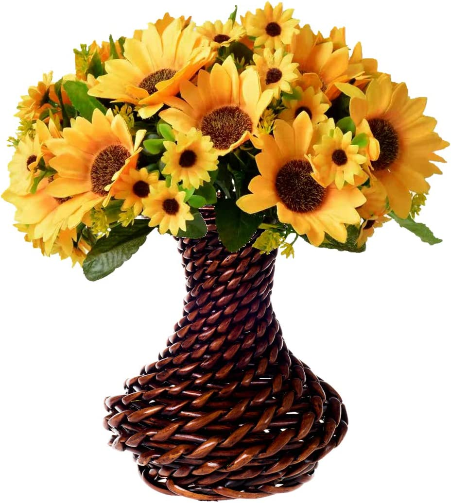 Fall Flower Centerpieces, Artificial Sunflower with Handmade Rattan Vase, Fake Silk Flowers in Vase Decoration for Table Home Office Wedding (Brown Rattan-2)