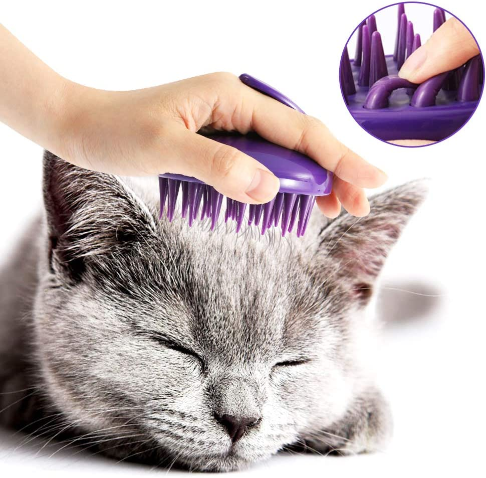CeleMoon Ultra-Soft Silicone Washable Cat Grooming Shedding Massage/Bath Brush - Safe & No Scratching Any More - Purple