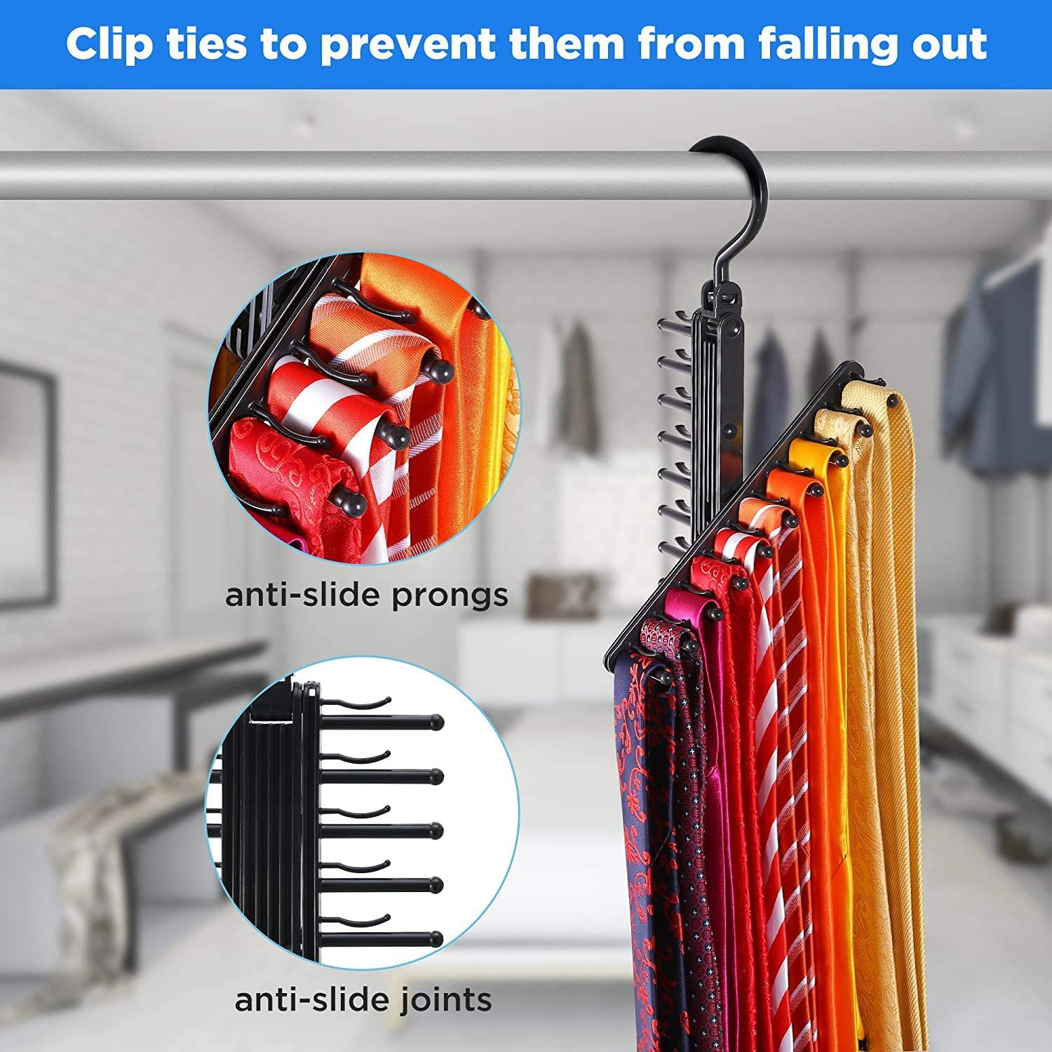 ABEY Cross X Tie Rack for Men 360 Degree Adjustable Belt Scarf Hanger with Non-Slip Clips Swivel Space Saving Organizer Securely Up to 20 Ties