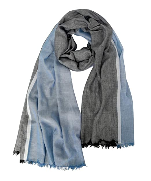 08a04979e0a7a GERINLY Scarves for Mens Double Color Wrap Long Scarf Shawl (Black Navyblue)