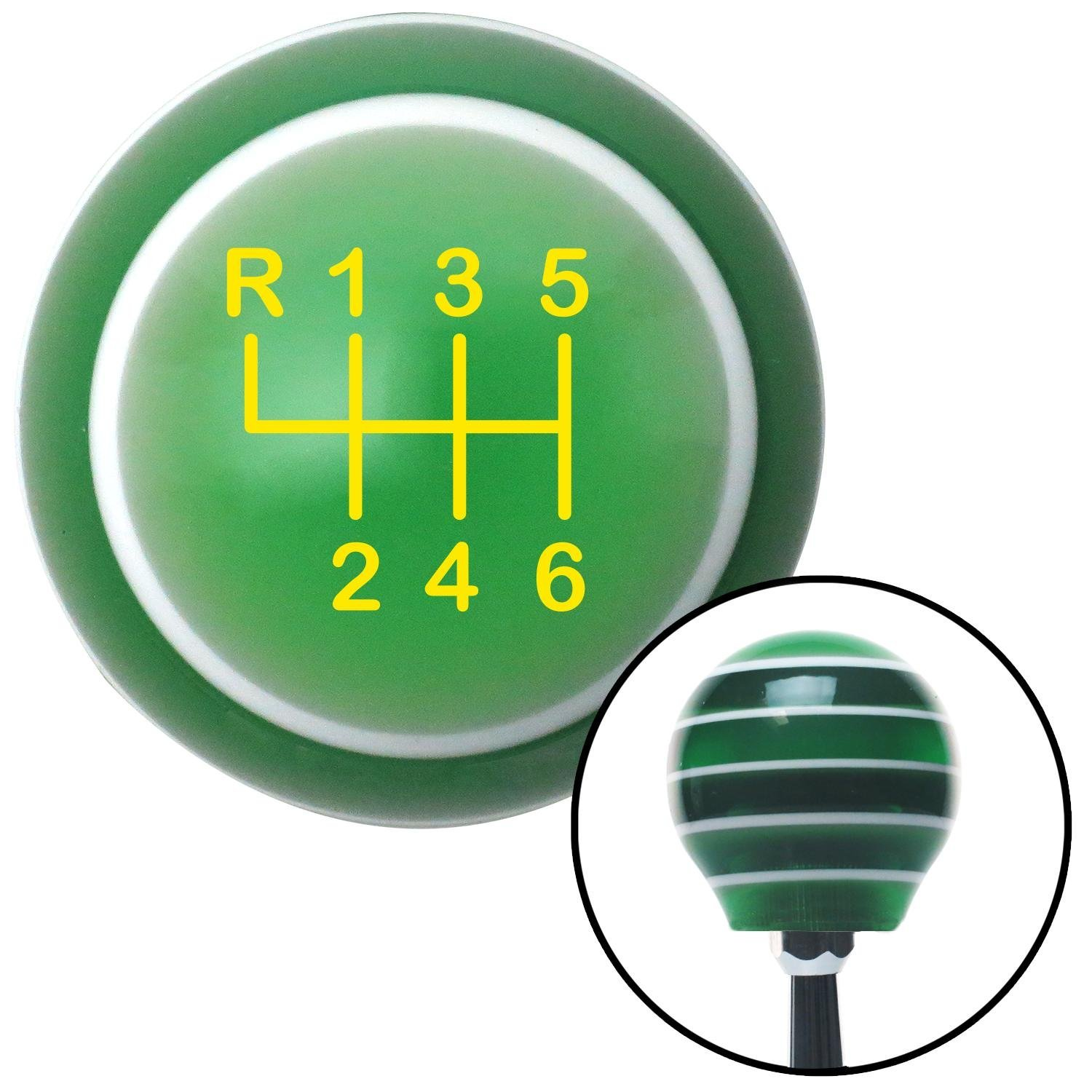 American Shifter 126948 Green Stripe Shift Knob with M16 x 1.5 Insert Yellow Shift Pattern 20n