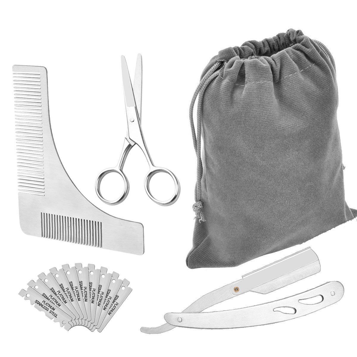 EEO Barbero Herramientas Kit con Barba Peine Plantilla, Tijera y Navaja de Afeitar - Incluyendo hojas de 10pcs leeo store