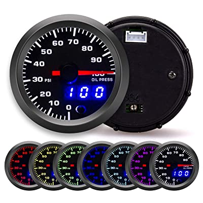 "100 PSI 7 Color Oil Pressure Gauge Kit - Includes Electronic Sensor - Black Dial with Pointer and LED Digital Readouts - for Car & Truck - 2-1/16"" 52mm: Automotive"