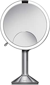 """simplehuman Sensor Mirror Trio, 8"""" Round with Touch-Control Brightness, 5X, 1x, 10x Magnification, Brushed Stainless Steel Brushed Stainless Steel"""