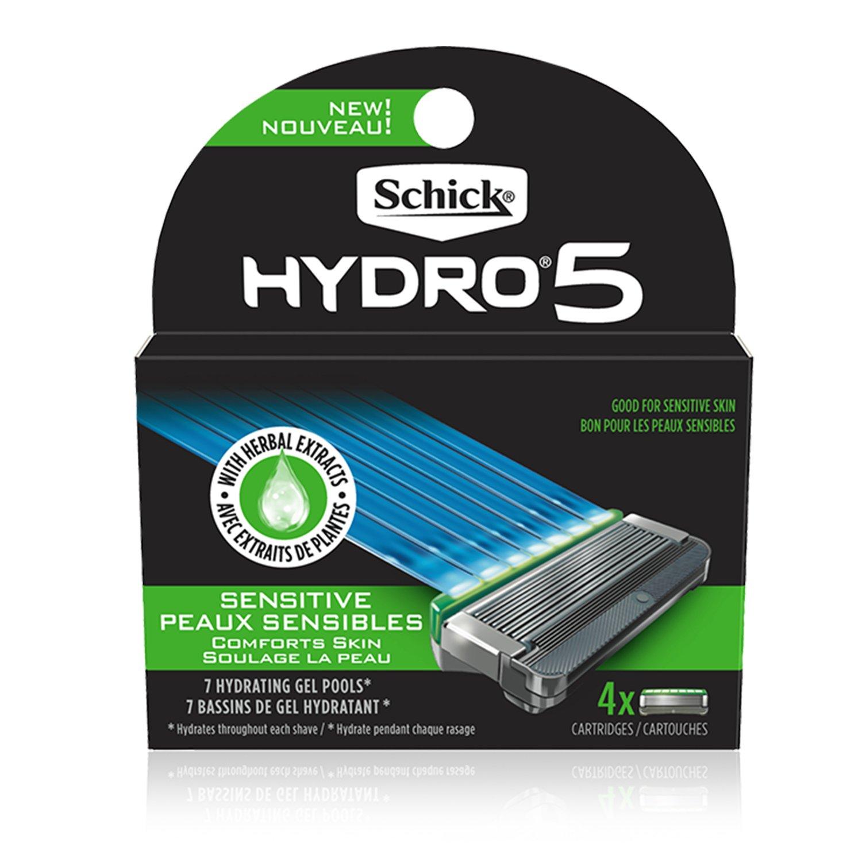 Schick Hydro Sense Sensitive Mens Razor Blade Refill with Sensitive Gel, Includes 4 Razor Blades Refills