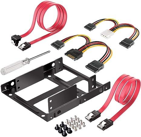 "2.5/"" Dual SSD to 3.5/"" Metal Mount Casing Hard Drive Bay Bracket SATA Cables Set"