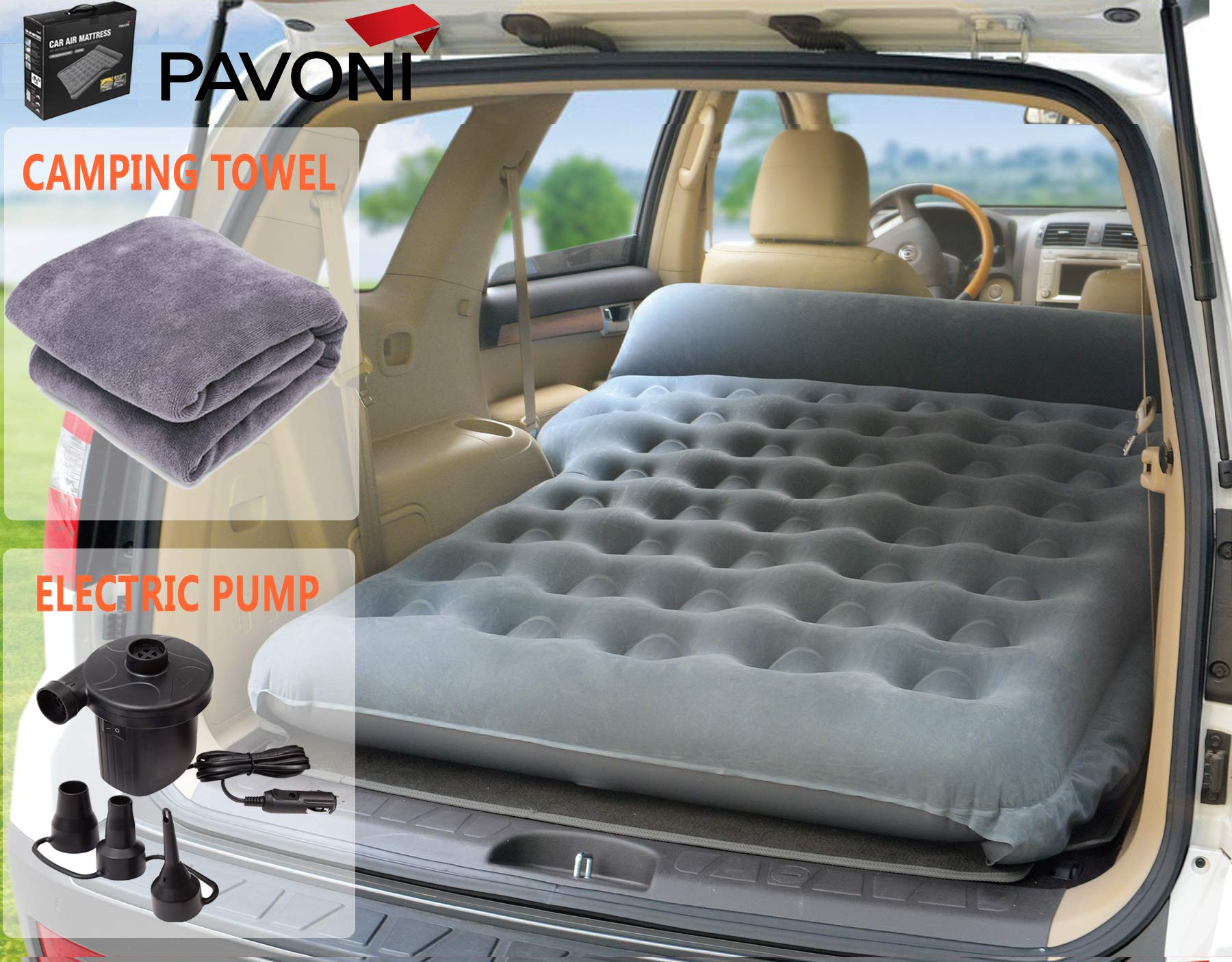 PAVONI Car Inflatable Air Camping Mattress Pad - with Electric Mattress Pump, Towel, Repair Patches & Storage Bag - Bed Mattress for SUVs, RVs & Minivans - Quick Inflation/Deflation - Durable & Comfy by PAVONI