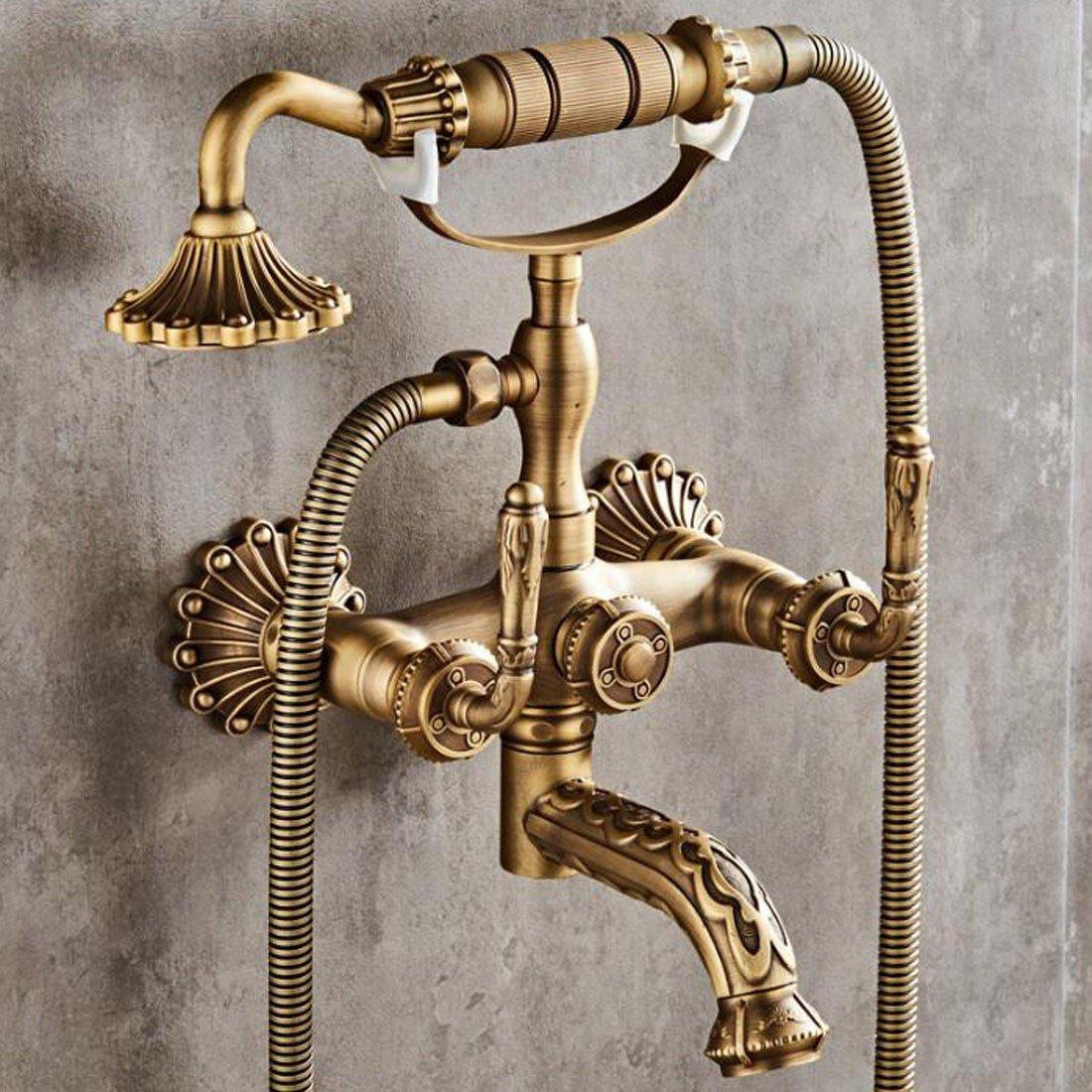 B SJQKA shower set Antique Copper Simple Shower Set Home Wall Hanging Nozzle Hand Washing Bath European Style,B