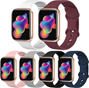 [6 Pack] OriBear Sport Band Compatible with Apple Watch Band 42mm 44mm, Durable Soft Silicone Replacement Strap for iWatch Band 6/5/4/3/2/1 for Women Men Kids S/M Pack B