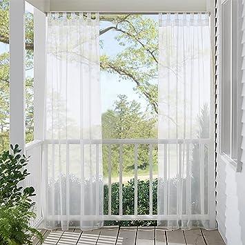 RYB HOME Visillos Blancos Exterior Terraza con Trabillas - Cortina Infantil Larga Salon Dormitorio Moderno/