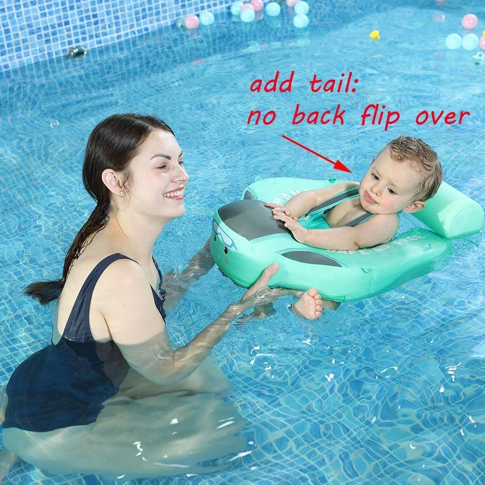 V Convey 2020 Newest Size Improved Add Tail Never Flip Over Mambobaby Non-Inflatable Float Smart Swim Trainer Relaxing Infant Solid Swimming Ring Waist Baby Float with Canopy Pool Floats Swim Ring