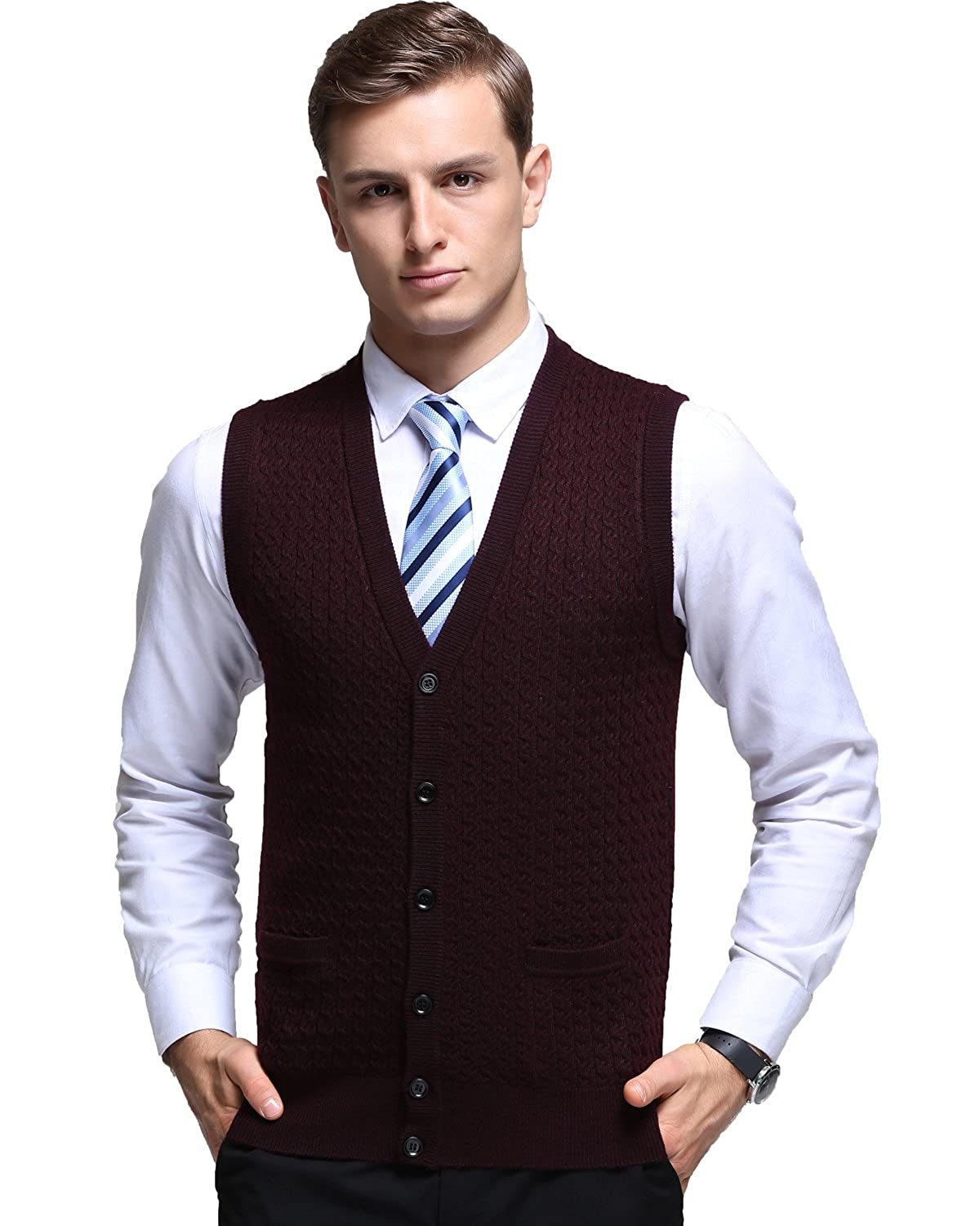Kinlonsair Mens Slim Fit Ribbed Knit Cardigan Sweater Vest with Pockets