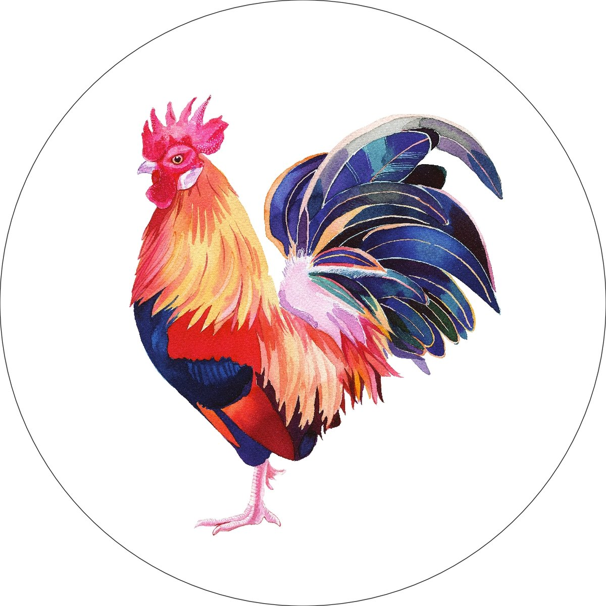 Rooster Chicken Home Wall Shelf Decor Animal Decorations Watercolor Round Sign - 12 Inch, Plastic