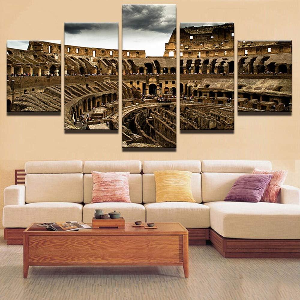 KANGZEDT Pintura sobre lienzo - 5 piezas 200*100CM Ideas de arquitectura urbana Cuadro en Lienzo - Abstracto Impresión de 5 Piezas Material Tejido no Tejido Impresión Artística Imagen Gráfica Decoraci