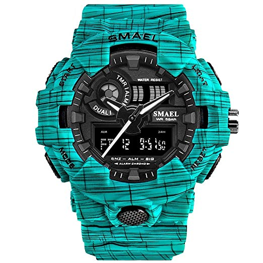 SMAEL - Reloj de pulsera deportivo para hombre con visualización analógica  digital y retroiluminación impermeable c6976efb0078
