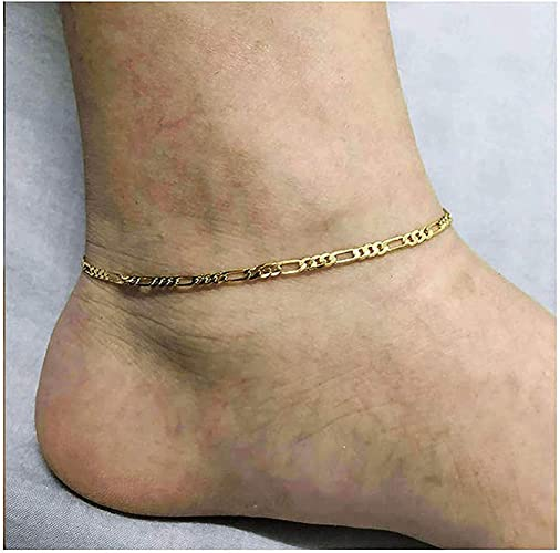 2x Women 18K Gold Plated Delicate Foot Chain Anklet Barefoot Ankle Bracelet