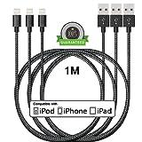 [Pack de 3]Câble iPhone 1M,ONSON Câble Lightning vers USB de Nylon Tressé Connecteur en Aluminium Chargeur iPhone pour Apple iPhone 7/7 Plus/6S/6S Plus/6/6 Plus/5/5S/5C/SE,iPad Pro/Air/mini,iPod (Noir)