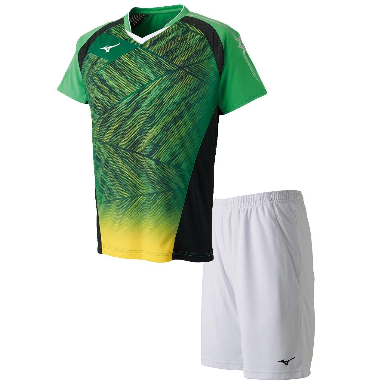 ミズノ(MIZUNO) ゲームシャツ&ゲームパンツ 上下セット(クラシックグリーン/ホワイト) 72MA8003-35-62JB8012-01 B079SDMWRD クラシックグリーン×ホワイト S