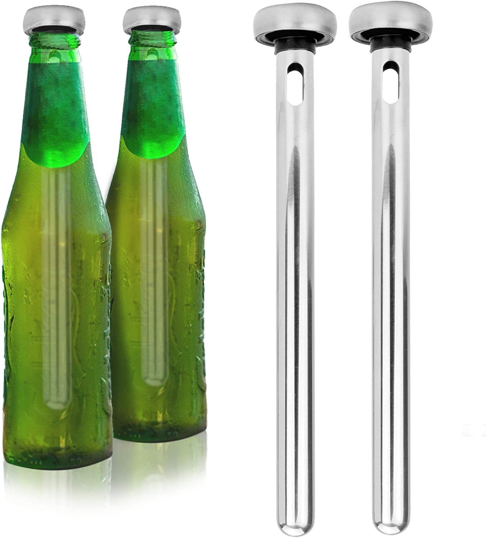 Pack de 2 barritas para refrescar cerveza | Enfriador de bebidas | Barras de acero para enfriar cerveza | Gadgets de cerveza | Regalos para hombres | M&W