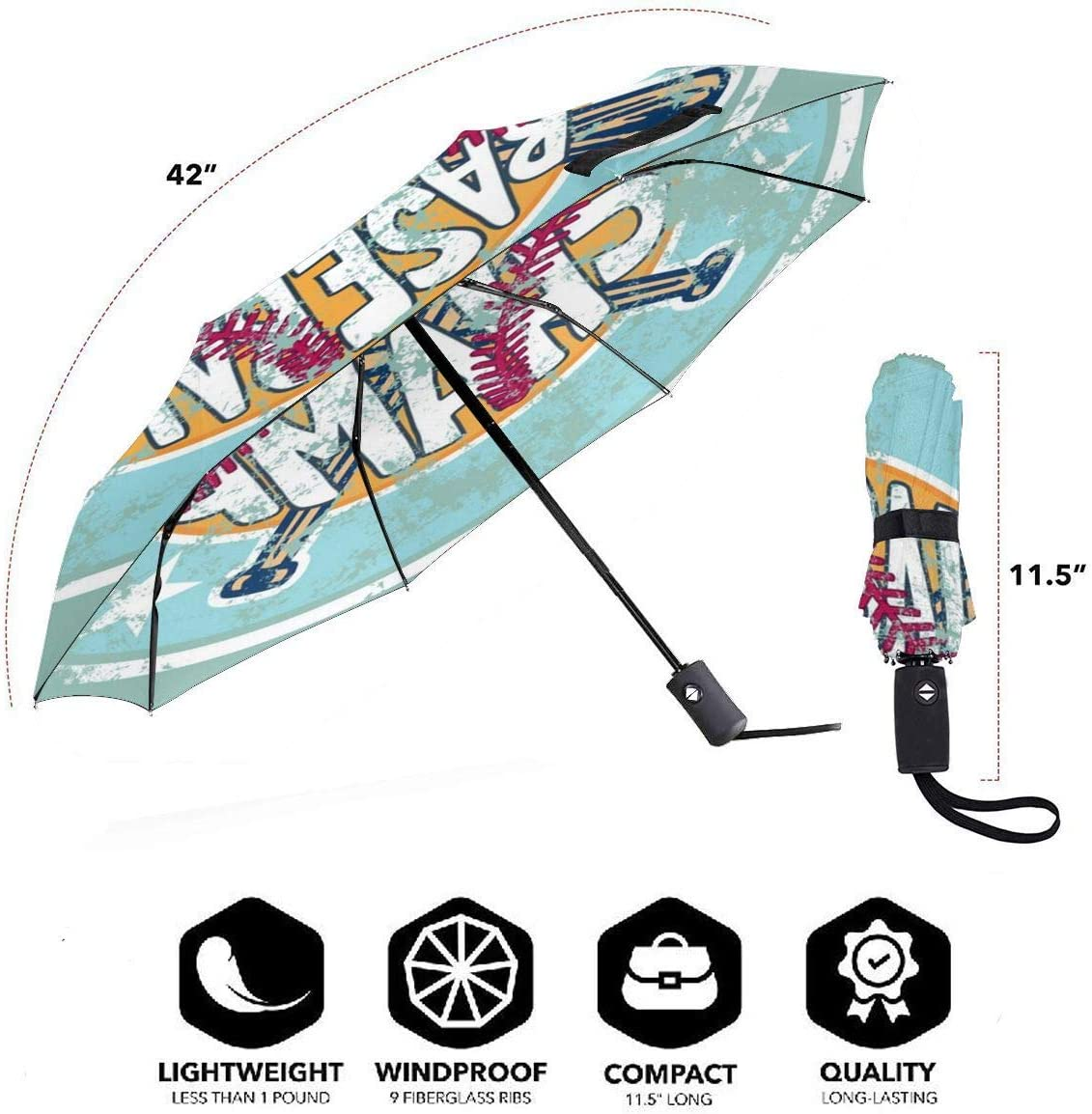 Baseball Champ Automatic Open Folding Compact Travel Umbrellas For Women