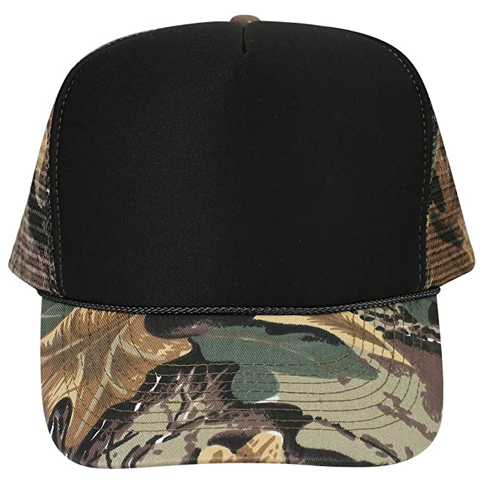 OTTO Camouflage Foam Front 5 Panel High Crown Mesh Back Trucker Hat - KHA  BRN Lt. Ol. Grn Wht at Amazon Men s Clothing store  2fa888e33f43