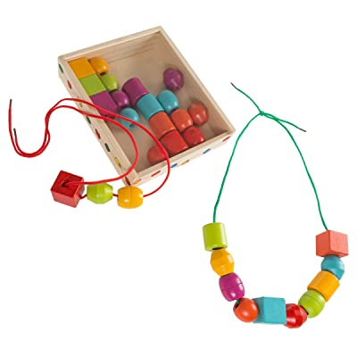 Kids Bead and String Lacing Toy-Set with 30 Wooden Beads, 2 Strings, and Storage Box-Fun and Creative STEM Activity for Preschoolers by Hey! Play!: Toys & Games