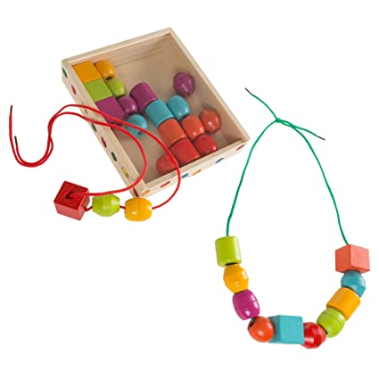 Amazoncom Hey Play Kids Bead And String Lacing Toy Set With 30