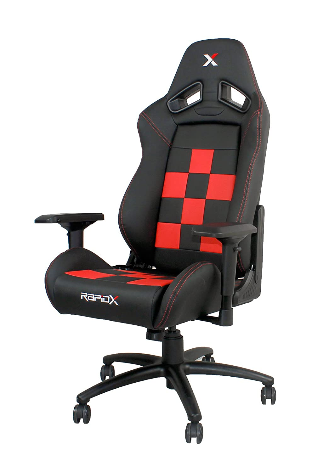 ebf2dbd739e52 Amazon.com  Finish Line Red on Black Checkered Flag Pattern Gaming and  Lifestyle Chair by RapidX  not machine specific  Video Games