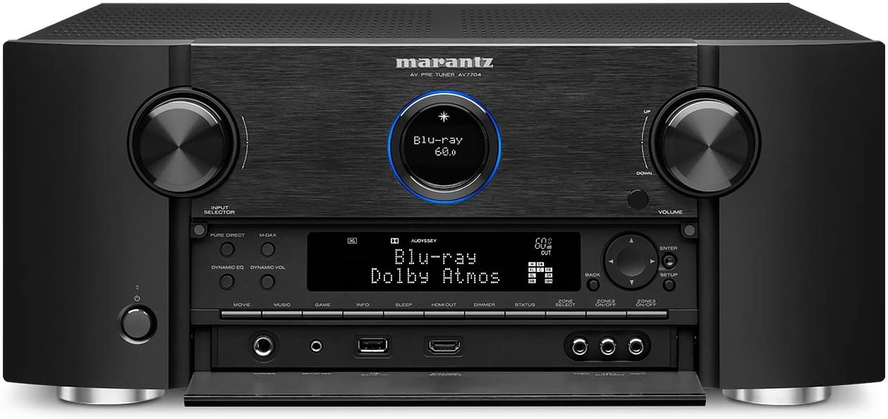 Marantz AV7704 11.2 Channel AV Audio Component Pre-Amplifier | Auro-3D, Dolby Surround Sound | Stream music via Wi-Fi, Bluetooth, AirPlay 2 & HEOS, Alexa Compatibility (Discontinued by Manufacturer)