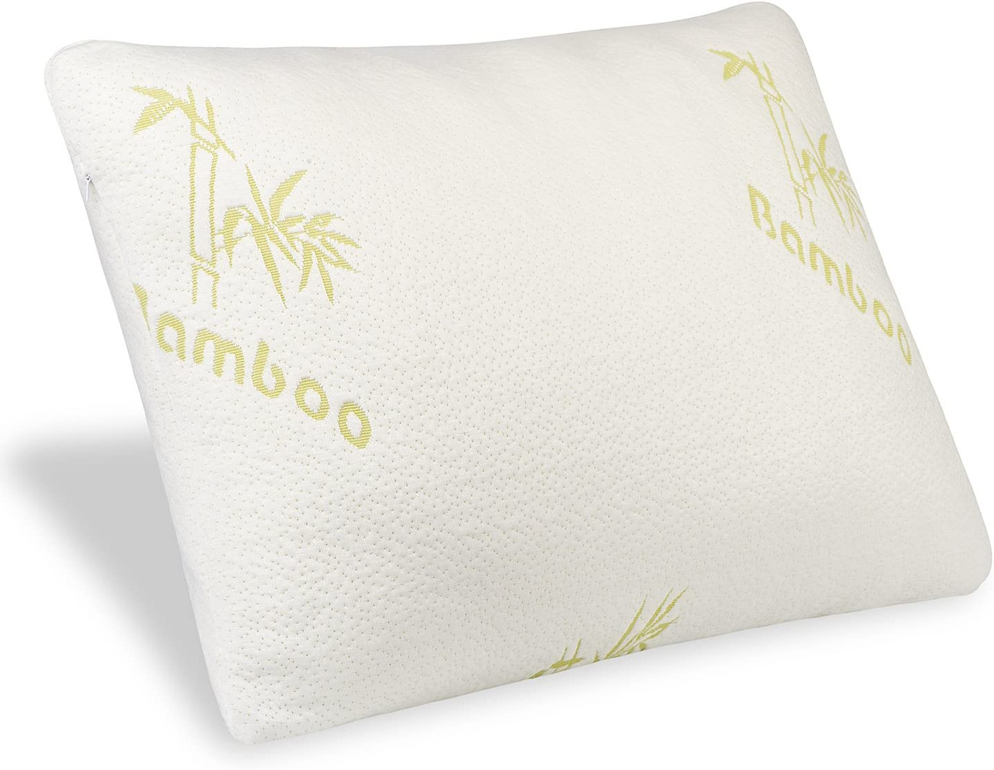 Mastery Mart Shredded Memory Foam Pillow for Sleeping, Washable Bamboo Pillowcase Cover, Fully Adjustable Loft, Inner Zipper, Mixed Gel Foam Bed Pillow for Neck Side Sleeper, CertiPUR-US (Queen Size)