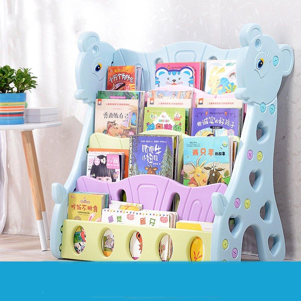 Bücherregal Kinder einfache Boden Baby Zeitschriftenregale Studenten Bücher Kindergarten Zeitung Display Stand (Farbe : Blau)
