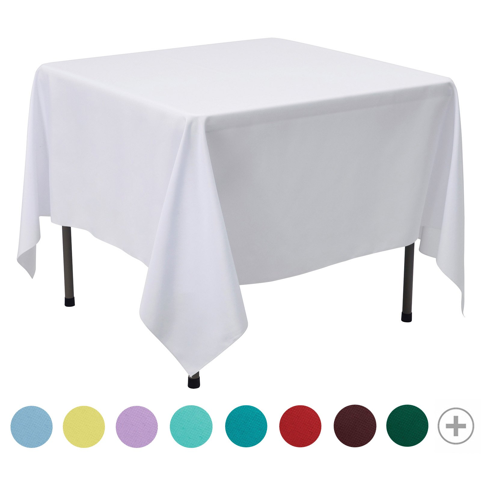 VEEYOO 85 inch Square Solid Polyester Tablecloth for Wedding Restaurant Party Coffee Shop Picnic Christmas, White