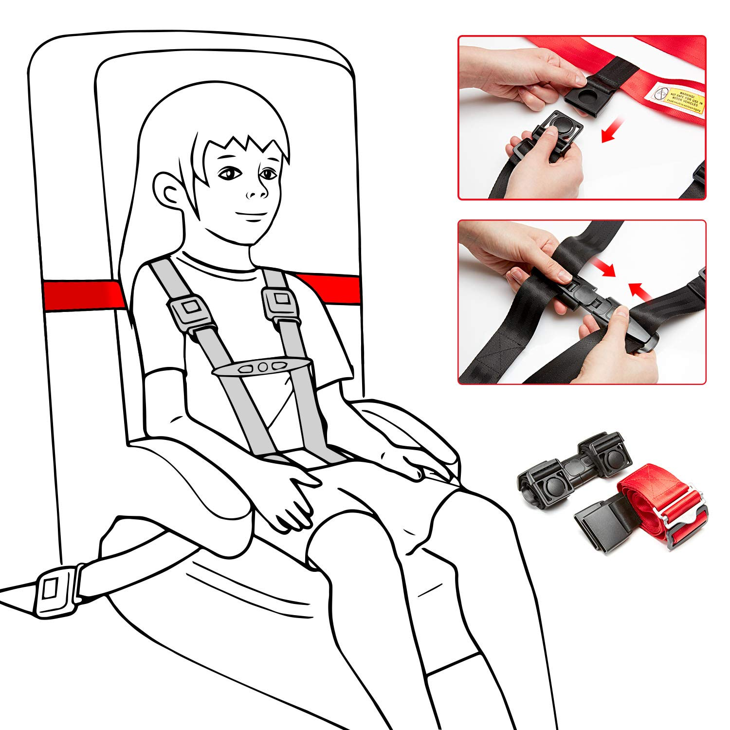 Child Safety Harness Airplane Travel Clip Strap, Travel Harness Safety System Approved by FAA, Airplane Safety Travel Harness for Baby, Toddlers & Kids by Farochy (Image #5)