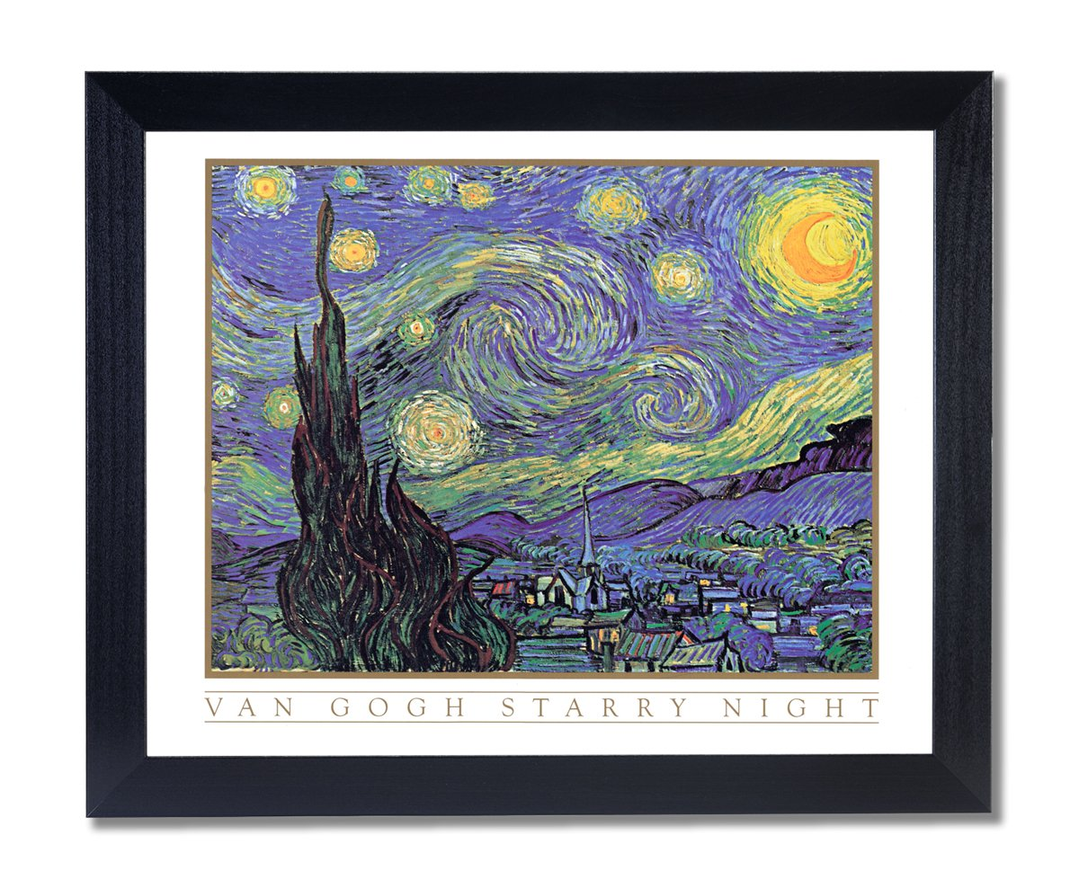 Amazon.de: Massivholz schwarz gerahmt Vincent van Gogh Starry Night ...