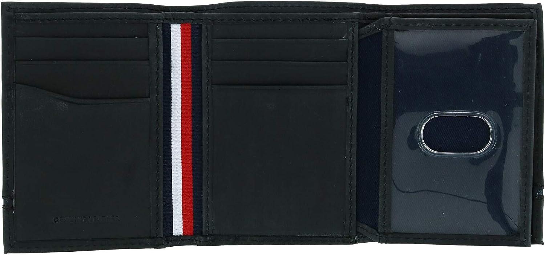 color negro Tommy Hilfiger Leif RFID Cartera de piel con doble identificaci/ón