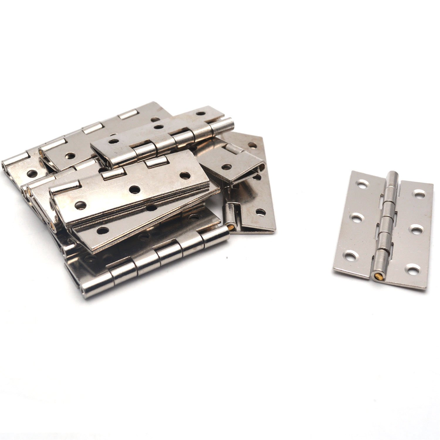Antrader Folding Butt Hinge 2-inch Long Cabinet Gate Closet Door Hinge Home Furniture Hardware Silver Tone 12pcs