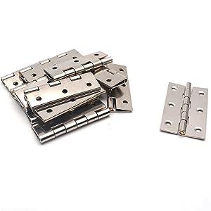 Antrader Folding Butt Hinge 2-inch Long Cabinet Gate Closet Door Hinge Home Furniture Hardware Silver Tone 12pcs