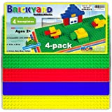 "[Large 10 in. x 20 in.] Compatible Baseplates for Large Building Blocks by Brickyard, Assorted Colors 10"" x 20"" Plastic Base Plate - Fits Duplo Blocks - for Displaying Construction Toys (4-pack)"