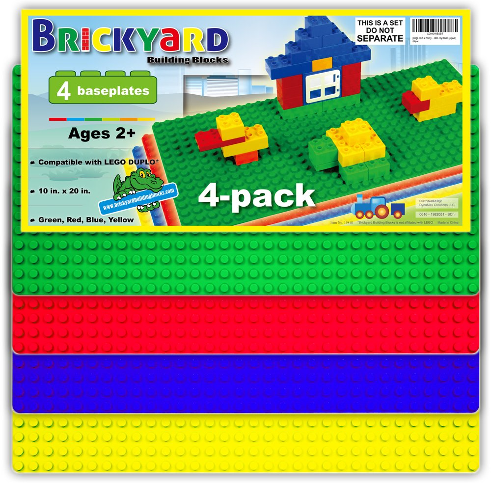 "[Large 10 in. x 20 in.] Compatible Baseplates for Large Building Blocks by Brickyard, Assorted Colors 10"" x 20"" Plastic Base Plate - Fits Large Blocks - for Displaying Construction Toys (4-pack) Review"