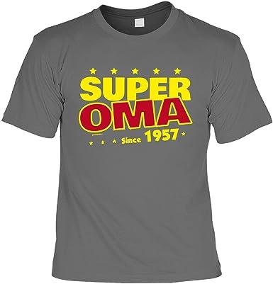T-Shirt zum Geburtstag: Super Oma since 1957 - Tolle Geschenkidee - Baujahr  1957 - Farbe: anthrazit: Amazon.de: Bekleidung