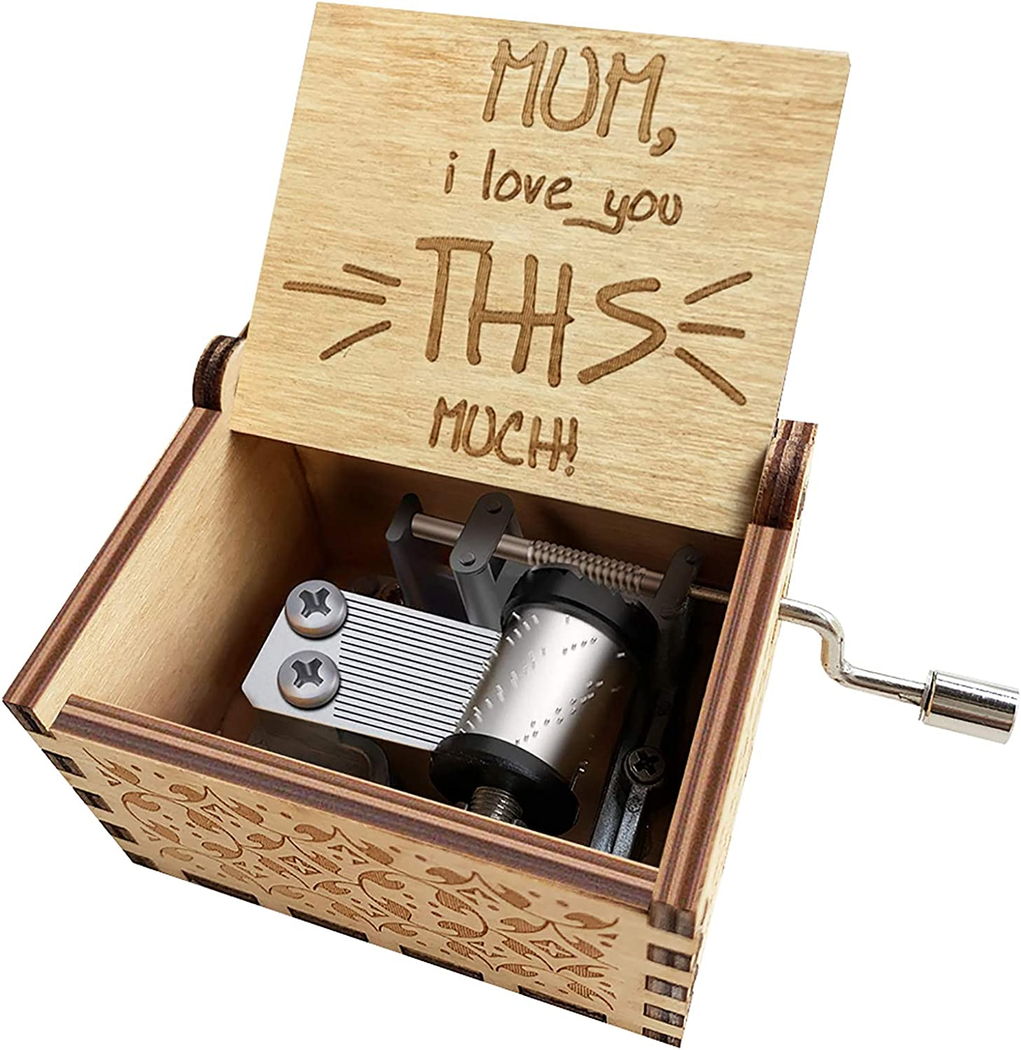 ORIMAMI to Mom Mommy Music Boxes- Mum I Love You This Much Gift from Son Daughter Wooden Music Box Home Office Decorative - Best Mom Gifts for Mother's Day,Thanksgiving Day,Christmas