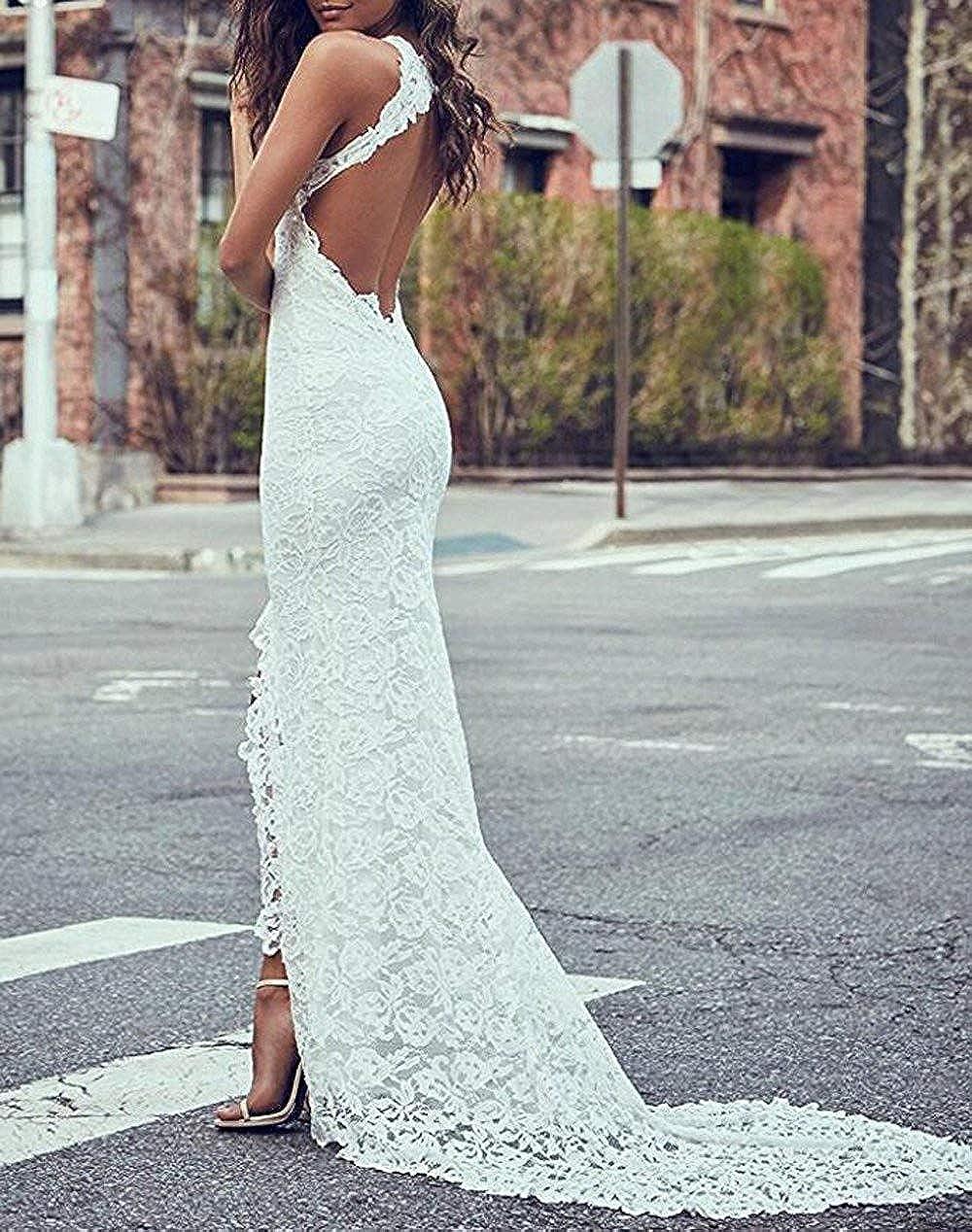Jdress Womens Bohemian Wedding Dresses Lace Backless Meraid Bridal Gown