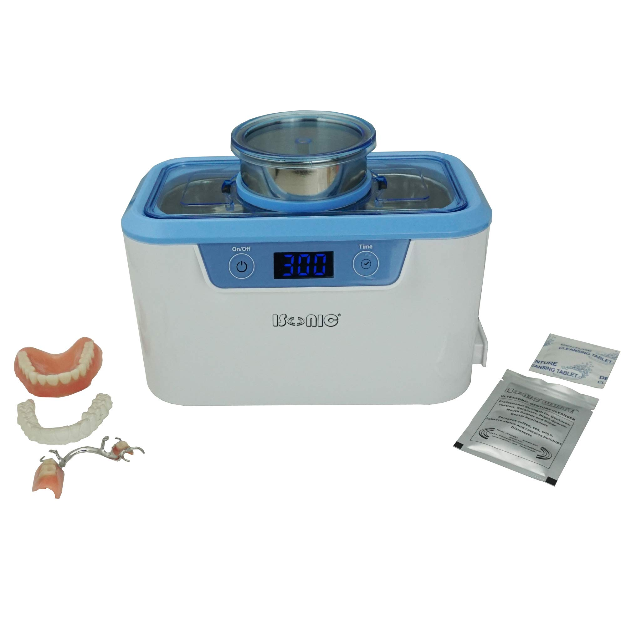 iSonic DS310-W Miniaturized Commercial Ultrasonic Cleaner with Stainless Beaker and Disposable Cup for Dental Offices, 110V 55W, White