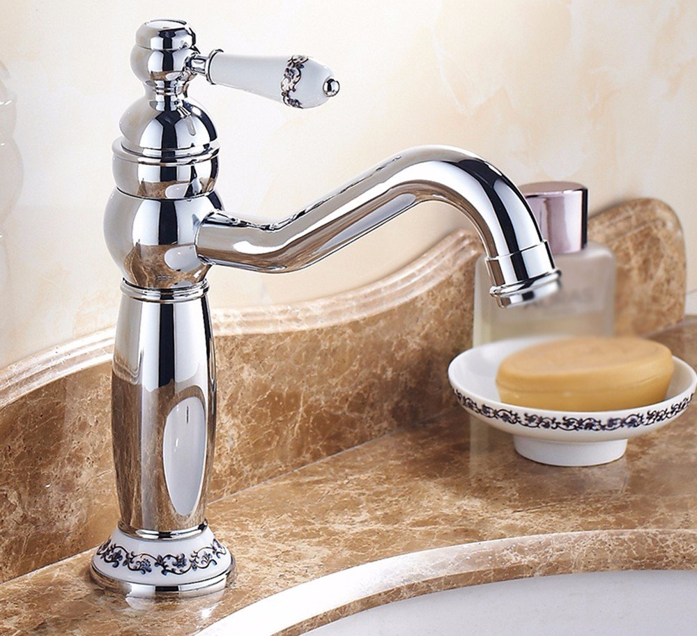 AWXJX The European style buildings copper hot and cold bath gold plated Sink mixer