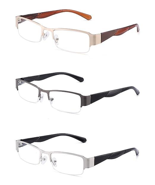 10bf9635f76 JM 3 Pack Spring Hinge Reading Glasses Vintage Rectangular Glasses for  Reader Men Women  Amazon.co.uk  Clothing