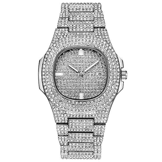 migliori scarpe da ginnastica ff53e d0cb2 Tutti gli orologi di diamanti per gli uomini Bling-ed Out rotonda Mens  Luxury Watch con bracciali Hip Hop con cinturino in blister