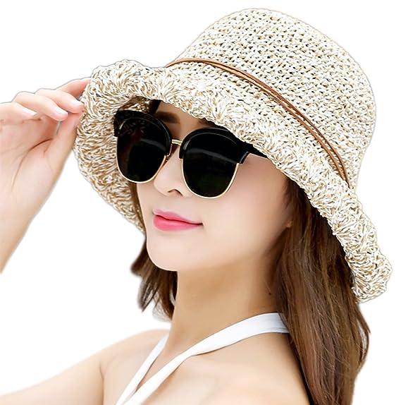 Leisial Sombrero del Pescador de Playa Protección Solar Sombrero de Playa  de ala Ancha con Arco Visera Gorro del Sol Verano Plegable para Mujeres  ... 26d4c712bce