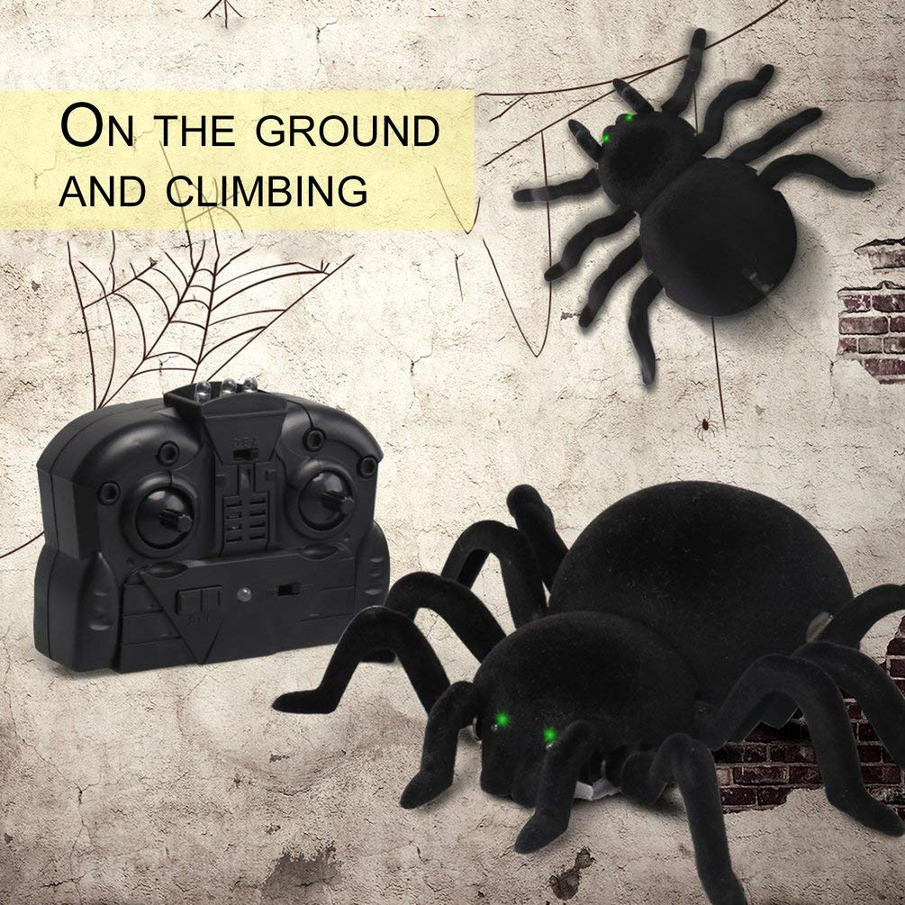 Deniseonuk Spider Remote Control Infrarrojo RC Tarantula Kid Gift Toy Simulaci/ón Furry Electronic Spider Sorpresa de Halloween
