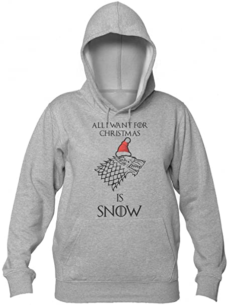 Finest Prints All I Want For Christmas Is Snow Stark Symbol Wolf Christmas Design Sudadera con Capucha para Mujer: Amazon.es: Ropa y accesorios
