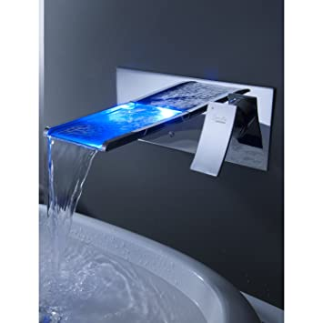 Sprinkle Wall Mount Color Changing Led Waterfall Bathroom Sink Faucet Single Handle Widespread Water Flow Powered